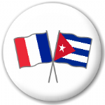France and Cuba Friendship Flag 25mm Pin Button Badge